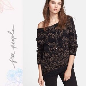Free People Black Floral Print Side Zip Sweater